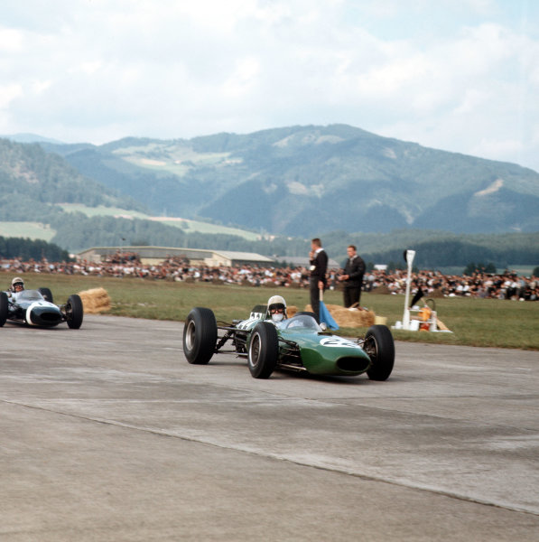 Zeltweg, Austria.21-23 August 1964.Bob Anderson (Brabham BT11 Climax) leads Jo Bonnier (Brabham BT7 Climax). They finished in 3rd and 6th positions respectively.Ref-3/1410.World Copyright - LAT Photographic