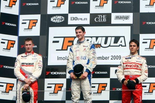 Race 2 podium and results:1st Alexander Rossi (USA) ISR, centre.2nd Josef Kral (CZE), JD Motorsport, left.3rd Sergey Afanasiev (RUS), JD Motorsport, right.International Formula Master, Rd8, Imola, San Marino, Italy, 20 September 2009.