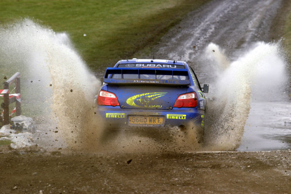 2003 FIA World Rally Champs. Round fourteen Wales Rally GB 6th-9th November 2003.Petter Solberg, Subaru, Action.World Copyright: McKlein/LAT
