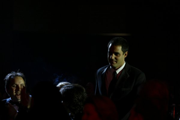 2003 AUTOSPORT AWARDS, The Grosvenor, London. 7th December 2003.Juan Pablo Montoya makes the journey to accept the trophy for International Driver.Photo: Peter Spinney/LAT PhotographicRef: Digital Image only