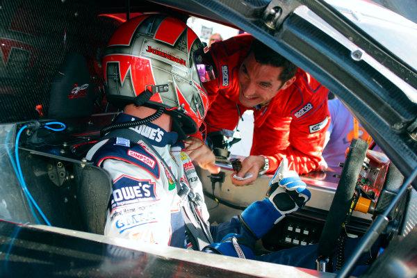 2004 Rolex Daytona 24 Hours TestingDaytona, Florida. USA. 4th January 2004.Jimmie Johnson, driver of DP-4 and Max Papis, portrait.World Copyright: Greg Aleck/LAT Photographicref: Digital Image Only