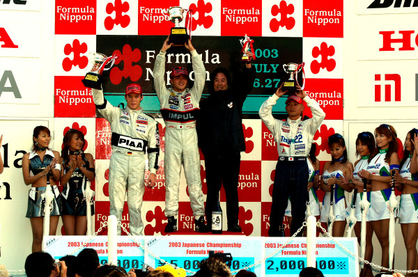 2003 Formula Nippon ChampionshipSugo, Japan. 27th July 2003.Race winner Satoshi Motoyama, podium.World Copyriht: Yasushi Ishihara/LAT Photographicref: Digital Image Only