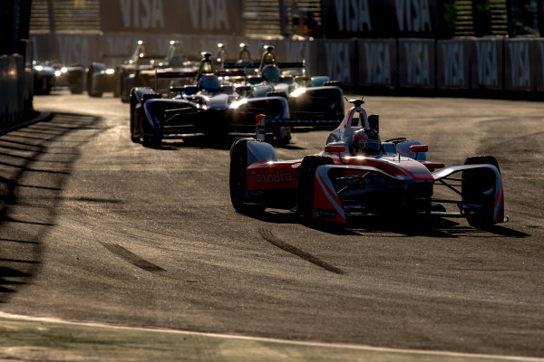 2016/2017 FIA Formula E Championship. Marrakesh ePrix, Circuit International Automobile Moulay El Hassan, Marrakesh, Morocco. Saturday 12 November 2016. Felix Rosenqvist (SWE), Mahindra Racing, Spark-Mahindra, Mahindra M3ELECTRO leads Sam Bird (GBR), DS Virgin Racing, Spark-Citroen, Virgin DSV-02 and the rest of the field at the start of the race. Photo: Zak Mauger/Jaguar Racing ref: Digital Image _X0W6075
