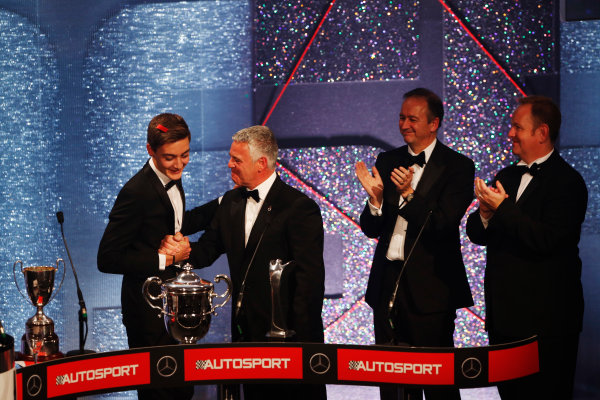 2014 Autosport Awards. Grosvenor House Hotel, Park Lane, London. Sunday 7 December 2014. George Russell wins the 2014 McLaren AUTOSPORT BRDC Award. World Copyright: Sam Bloxham/LAT Photographic. ref: Digital Image _14P3991