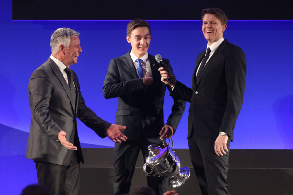 2014 BRDC Annual Awards The Grand Connaught Rooms, London, UK Monday 8 December 2014. George Russell on stage with Derek Waarwick and Jake Humphrey. World Copyright: Ebrey/LAT Photographic. ref: Digital Image Russell-09