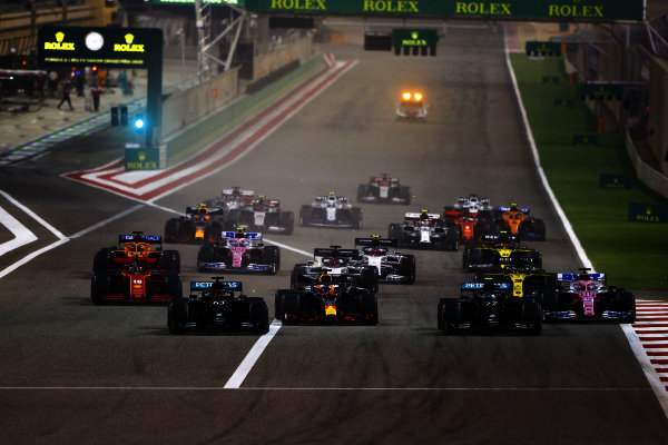 George Russell, Mercedes F1 W11 EQ Performance, leads Valtteri Bottas, Mercedes F1 W11 EQ Performance, Max Verstappen, Red Bull Racing RB16, Charles Leclerc, Ferrari SF1000, Sergio Perez, Racing Point RP20, and the rest of the field at the start