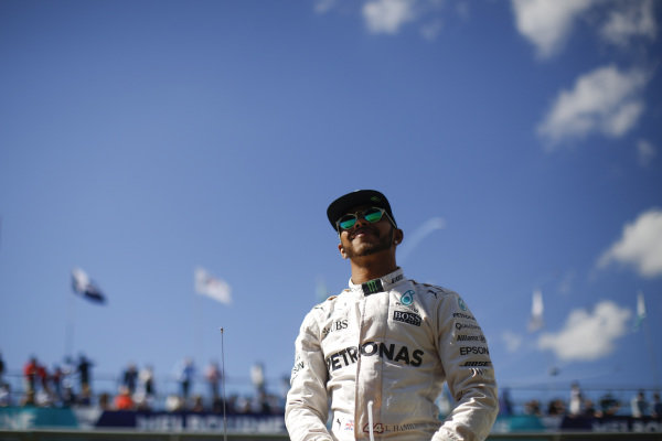 Lewis Hamilton (GBR) Mercedes AMG F1 at the drivers parade at Formula One World Championship, Rd1, Australian Grand Prix, Race, Albert Park, Melbourne, Australia, Sunday 20 March 2016.