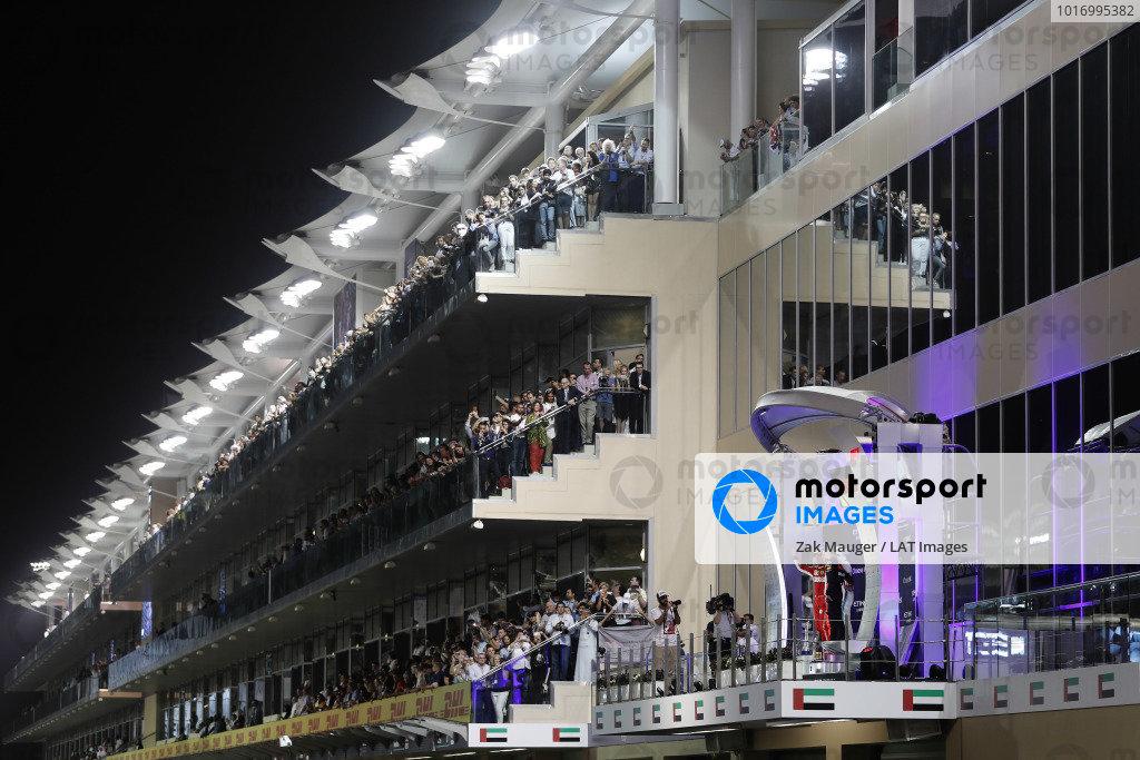 Sebastian Vettel, Ferrari SF71H, Lewis Hamilton, Mercedes AMG F1 W09 EQ Power+, and Max Verstappen, Red Bull Racing RB14, celebrate on the podium