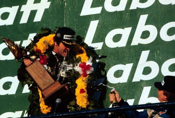1980 Canadian Grand Prix.Montreal, Quebec, Canada.26-28 September 1980.Alan Jones (Williams Ford) 1st position clinching the World Championship. Didier Pironi (Ligier Ford) 3rd position, celebrates with him.World Copyright - LAT Photographic