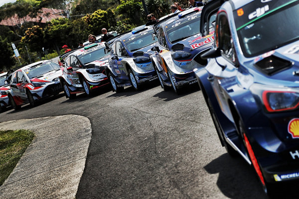 WRC car line up at World Rally Championship, Rd13, Rally Australia, Preparations and Shakedown, Coffs Harbour, New South Wales, Australia, 16 November 2017.