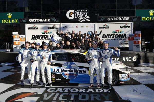 #37 LA Honda World Racing Honda Civic TCR, TCR: Tom O'Gorman, Mike LaMarra and team in Victory Lane, cppit stop, podium