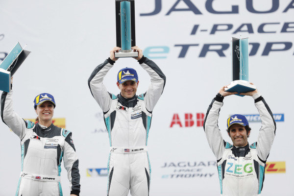 The PRO class podium: winner Bryan Sellers (USA), Rahal Letterman Lanigan Racing, Katherine Legge (GBR), Rahal Letterman Lanigan Racing, 2nd position, and Sérgio Jimenez (BRA), Jaguar Brazil Racing, 3rd position