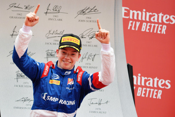 Robert Shwartzman (RUS) PREMA Racing, celebrates on the podium