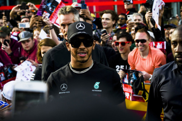 Lewis Hamilton, Mercedes AMG F1 at the Federation Square event.