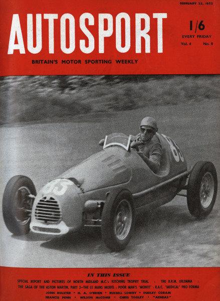 Cover of Autosport magazine, 22nd February 1952