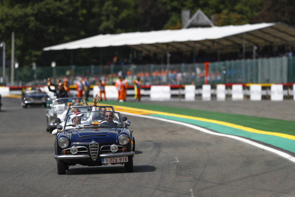 Charles Leclerc, Alfa Romeo Sauber F1 Team, on the drivers' parade.