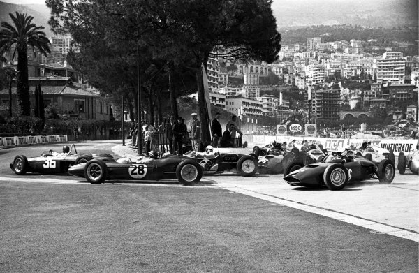 Monaco GP 1961 Start Ritchie Ginther (Ferrari 156) leads from Jim Clark( car 28) Lotus 21 and winner Stirling Moss, Lotus 18
