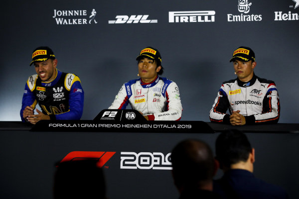 AUTODROMO NAZIONALE MONZA, ITALY - SEPTEMBER 07: Luca Ghiotto (ITA, UNI VIRTUOSI), Race winner Nobuharu Matsushita (JPN, CARLIN) and Nyck De Vries (NLD, ART GRAND PRIX) in the press confrence during the Monza at Autodromo Nazionale Monza on September 07, 2019 in Autodromo Nazionale Monza, Italy. (Photo by Joe Portlock / LAT Images / FIA F2 Championship)