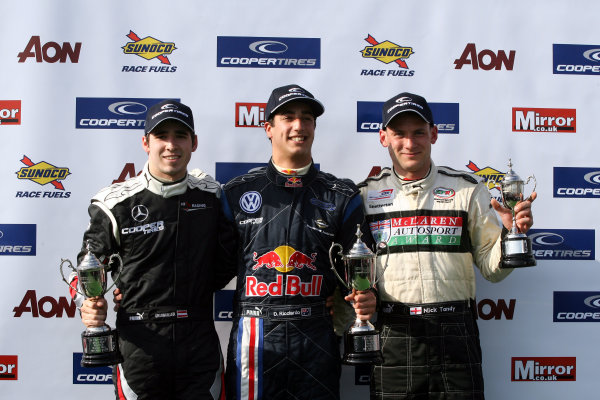 Oulton Park 11th-13th April 2009Podium race 2, Grubmuller, Ricciardo and TandyWorld Copyright: Jakob Ebrey/LAT Photographic