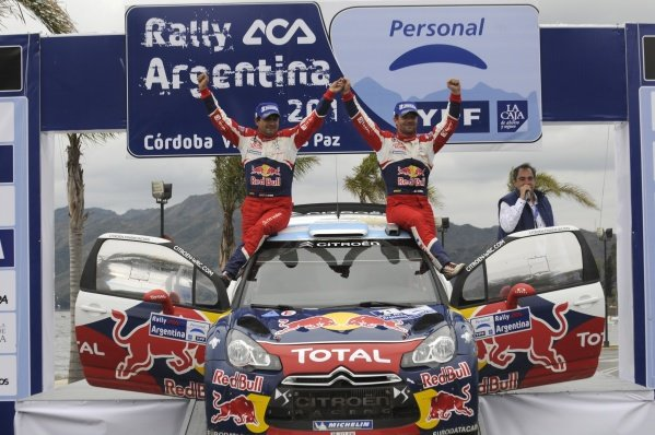 R-L: Rally winners Sebastien Loeb (FRA), Citroen, and co-driver Daniel Elena (MON), celebrate after winning the rally, at the end of the final stage.World Rally Championship, Rd6, Rally Argentina, Villa Carlos Paz, Cordoba, Argentina, Day Three, Sunday 29 May 2011.