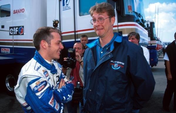 Jacques Villeneuve(CDN) Williams FW18 and  1995 Indy Lights champion Greg Moore(CDN), left Portugese GP, Estoril, 22 September 1996