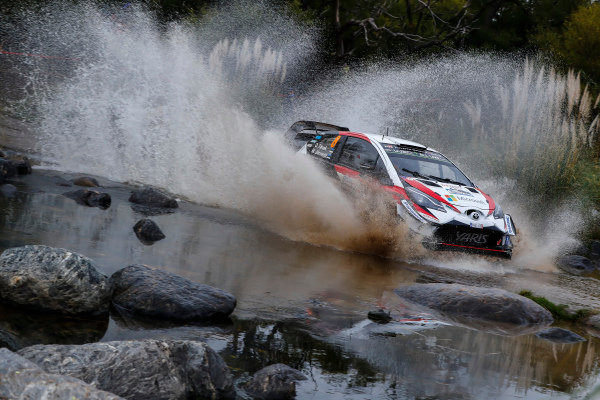 A feature of Rally Argentina are the water splashes, which Ott Tanak takes on full attack.