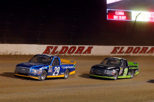 NASCAR Camping World Truck Series Eldora Dirt Derby Eldora Speedway, Rossburg, OH USA Wednesday 19 July 2017 Chase Briscoe, Cooper Standard Ford F150 and Austin Cindric, Fitzgerald Glider Kits Ford F150 World Copyright: Russell LaBounty LAT Images