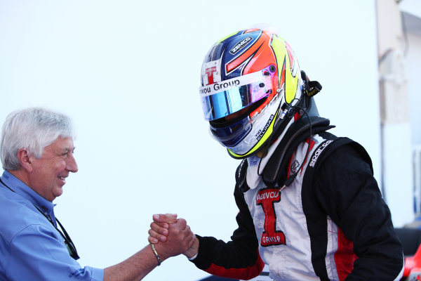 2012 GP3 Series, Round 3.Valencia, Spain. 24th June 2012. Sunday Race 2. Tio Ellinas (CYP, Marussia Manor Racing) celebrates in parc ferme. Portrait. World Copyright:  Daniel Kalisz/LAT Photographic Ref: Digital Image IMG_2062