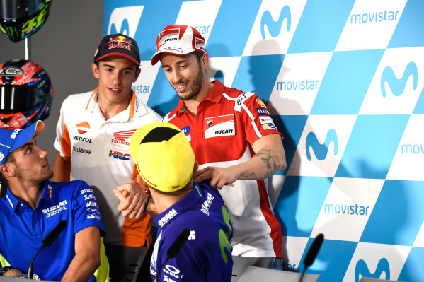 2017 MotoGP Championship - Round 14 Aragon, Spain. Thursday 21 September 2017 Valentino Rossi, Yamaha Factory Racing, Andrea Dovizioso, Ducati Team World Copyright: Gold and Goose / LAT Images ref: Digital Image 693402