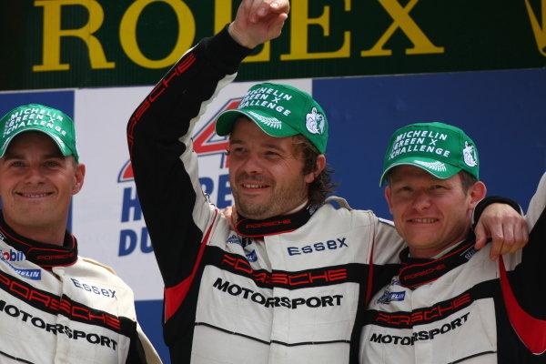 Circuit de La Sarthe, Le Mans, France.8th - 14th June 2009. Emmanuel Collard/Casper Elgaard/Kristian Poulsen, Team Essex Porsche RS Spyder, 1st in LMP2 class, on the podium. Portrait. Podium. World Copyright: Kevin Wood/LAT Photographic Photographic Ref: IMG_7183 JPG