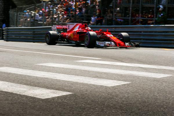 Monte Carlo, Monaco. Saturday 27 May 2017. Sebastian Vettel, Ferrari SF70H. World Copyright: Charles Coates/LAT Images ref: Digital Image AN7T6856