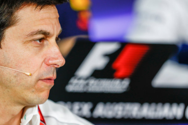 Albert Park, Melbourne, Australia. Friday 24 March 2017. Toto Wolff, Executive Director (Business), Mercedes AMG, in the Team Principals Press Conference. World Copyright: Sam Bloxham/LAT Images ref: Digital Image _W6I2435