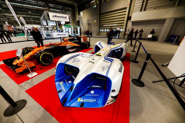 Autosport International Exhibition. National Exhibition Centre, Birmingham, UK. Friday 12th January 2018. A McLaren and Robocar next to the Autosport Stage. World Copyright: Glenn Dunbar/LAT Images Ref: _X4I8219