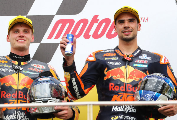 2017 Moto2 Championship - Round 17 Sepang, Malaysia. Sunday 29 October 2017 Podium: race winner Miguel Oliveira, Red Bull KTM Ajo, second place Brad Binder, Red Bull KTM Ajo World Copyright: Gold and Goose / LAT Images ref: Digital Image 26795