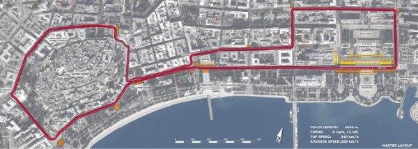 Map of the Street Circuit of Baku.  Baku European Grand Prix Street Circuit Press Event, Baku, Azerbaijan, 7 October 2014.