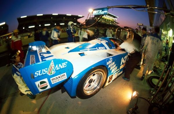 Eddie Irvine (GBR) Kitz Racing Toyota 92 C-V driving with Roland Ratzenberger (AUT) and Eje Elgh (SWE) finished ninth.Le Mans 24 Hour Race, Le Sarthe, France, 20-21 June 1992.