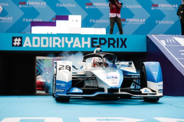 Antonio Felix da Costa (PRT), BMW I Andretti Motorsports, BMW iFE.18 pulls up in front of the podium