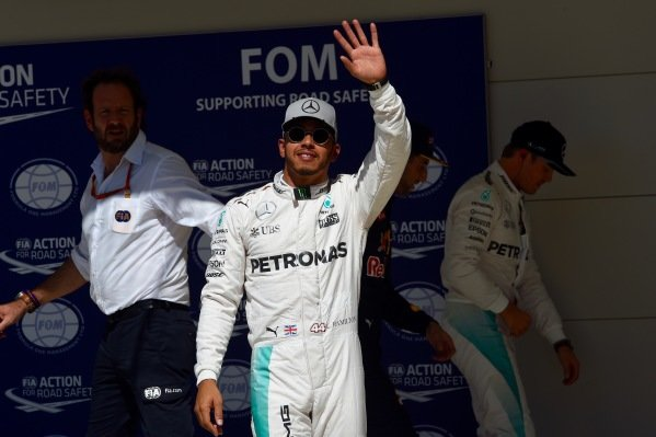 Pole sitter Nico Rosberg (GER) Mercedes AMG F1 celebrates in parc ferme at Formula One World Championship, Rd18, United States Grand Prix, Qualifying, Circuit of the Americas, Austin, Texas, USA, Saturday 22 October 2016.