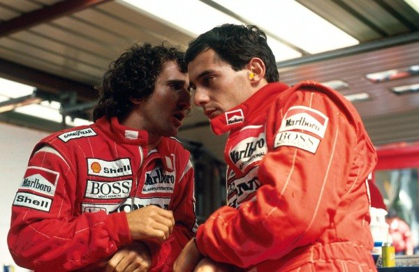 (L to R): Second placed Alain Prost (FRA) with his McLaren team mate Ayrton Senna (BRA), who took pole position and went on to win the race. Belgian Grand Prix, Rd 11, Spa-Francorchamps, Belgium, 28 August 1988.