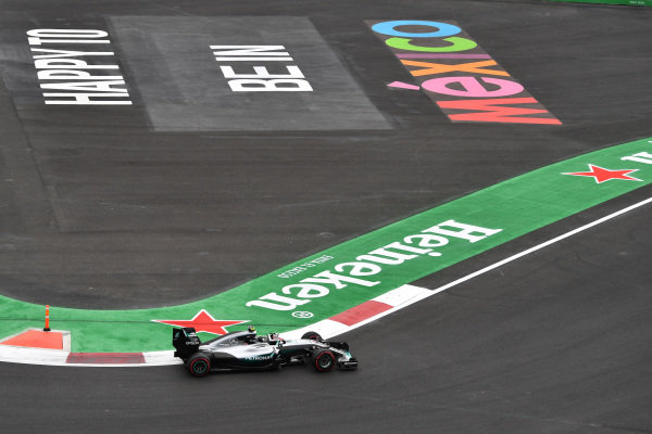 Nico Rosberg (GER) Mercedes-Benz F1 W07 Hybrid at Formula One World Championship, Rd19, Mexican Grand Prix, Practice, Circuit Hermanos Rodriguez, Mexico City, Mexico, Friday 28 October 2016.
