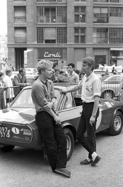 Hannu Mikkola and co driver Anssi Järvi beside their Lancia fulvia coupe.