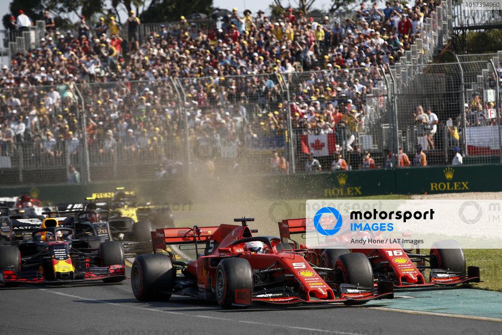 Sebastian Vettel, Ferrari SF90, leads Charles Leclerc, Ferrari SF90, Max Verstappen, Red Bull Racing RB15, Nico Hulkenberg, Renault R.S. 19, and the rest of the field at the start
