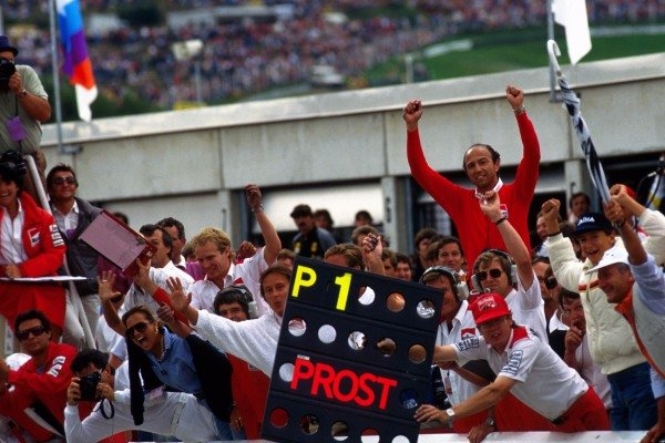 The McLaren team, including a delighted Jo Ramirez (MEX) (centre, right) celebrate victory for Alain Prost (FRA) McLaren. Formula One World Championship, Rd10, Austrian Grand Prix, Osterreichring, Austria, 16 August 1985.