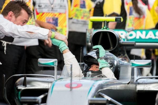 Race winner Nico Rosberg (GER) Mercedes AMG F1 celebrates in Parc ferme at Formula One World Championship, Rd1, Australian Grand Prix, Race, Albert Park, Melbourne, Australia, Sunday 20 March 2016.