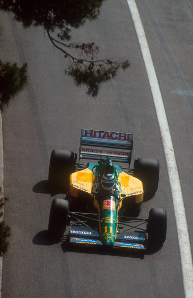 1992 Monaco Grand Prix.Monte Carlo, Monaco.28-31 May 1992.Mika Hakkinen (Lotus 107 Ford). He exited the race when his failing clutch caused his gearbox to break.Ref-92 MON 41.World Copyright - LAT Photographic