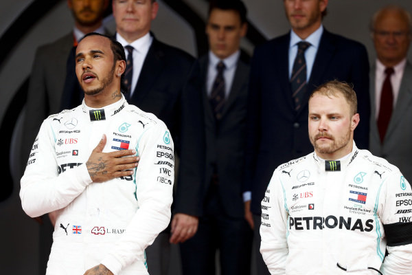 Race Winner Lewis Hamilton, Mercedes AMG F1 and Valtteri Bottas, Mercedes AMG F1 on the podium