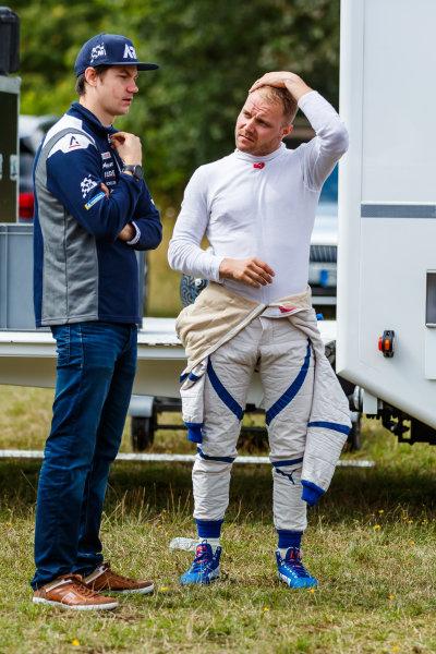 Valtteri Bottas talks with Teemu Suninen while testing an M-Sport Ford Fiesta WRC