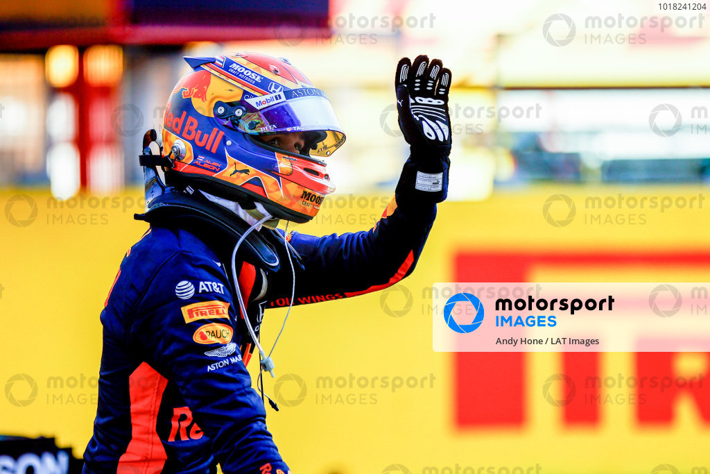 Alexander Albon, Red Bull Racing, 3rd position, celebrates on arrival in Parc Ferme