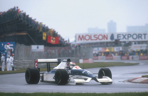 1990 Canadian Grand Prix.Montreal, Canada.8-10 June 1990.Jean Alesi (Tyrrell 019 Ford). He exited the race after spinning off and crashing heavilly into Nannini's parked car.Ref-90 CAN 09.World Copyright - LAT Photographic
