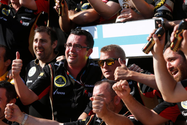 Hungaroring, Budapest, Hungary 28th July 2013 Kimi Raikkonen, Lotus F1, 2nd position, Eric Boullier, Team Principal, Lotus F1, and the Lotus F1 team celebrate World Copyright: Charles Coates/LAT Photographic ref: Digital Image _N7T4104